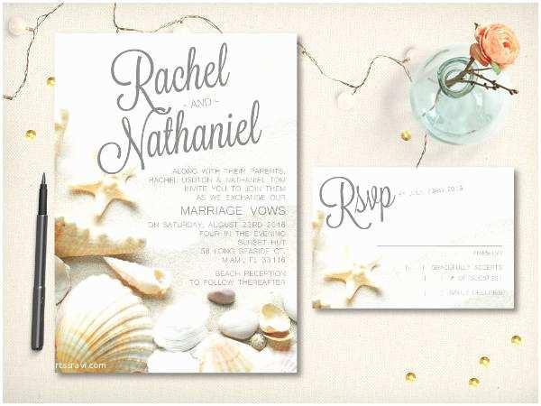 Elegant Beach Wedding Invitations 40 Wedding Invitations