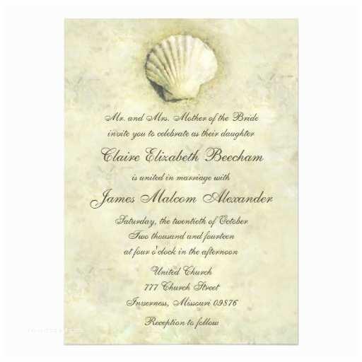 Elegant Beach Wedding S Elegant Beach Seashell 5x7 Wedding