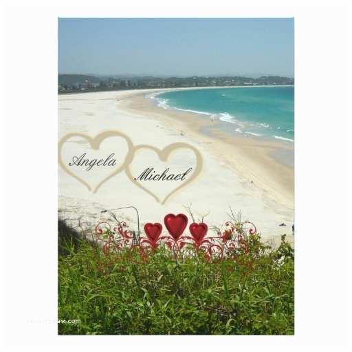 "Elegant Beach Wedding Invitations Elegant Beach Wedding Invitation Red Hearts 6 5"" X 8"