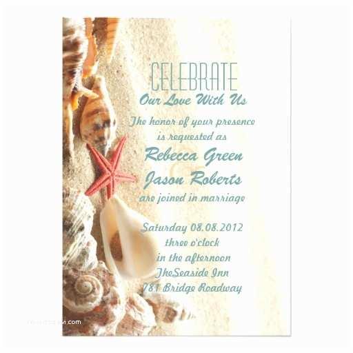 Elegant Beach Wedding Invitations Elegant Ocean Sand Seashells Beach Wedding Invitations