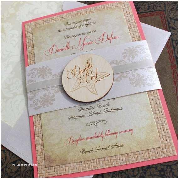 Elegant Beach Wedding Invitations Elegant Starfish Beach Wedding Invitation Bahamas Design