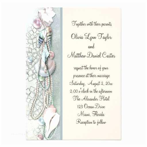 Elegant Beach Wedding Invitations Seashell Pearls Elegant Beach Wedding 5x7 Paper Invitation