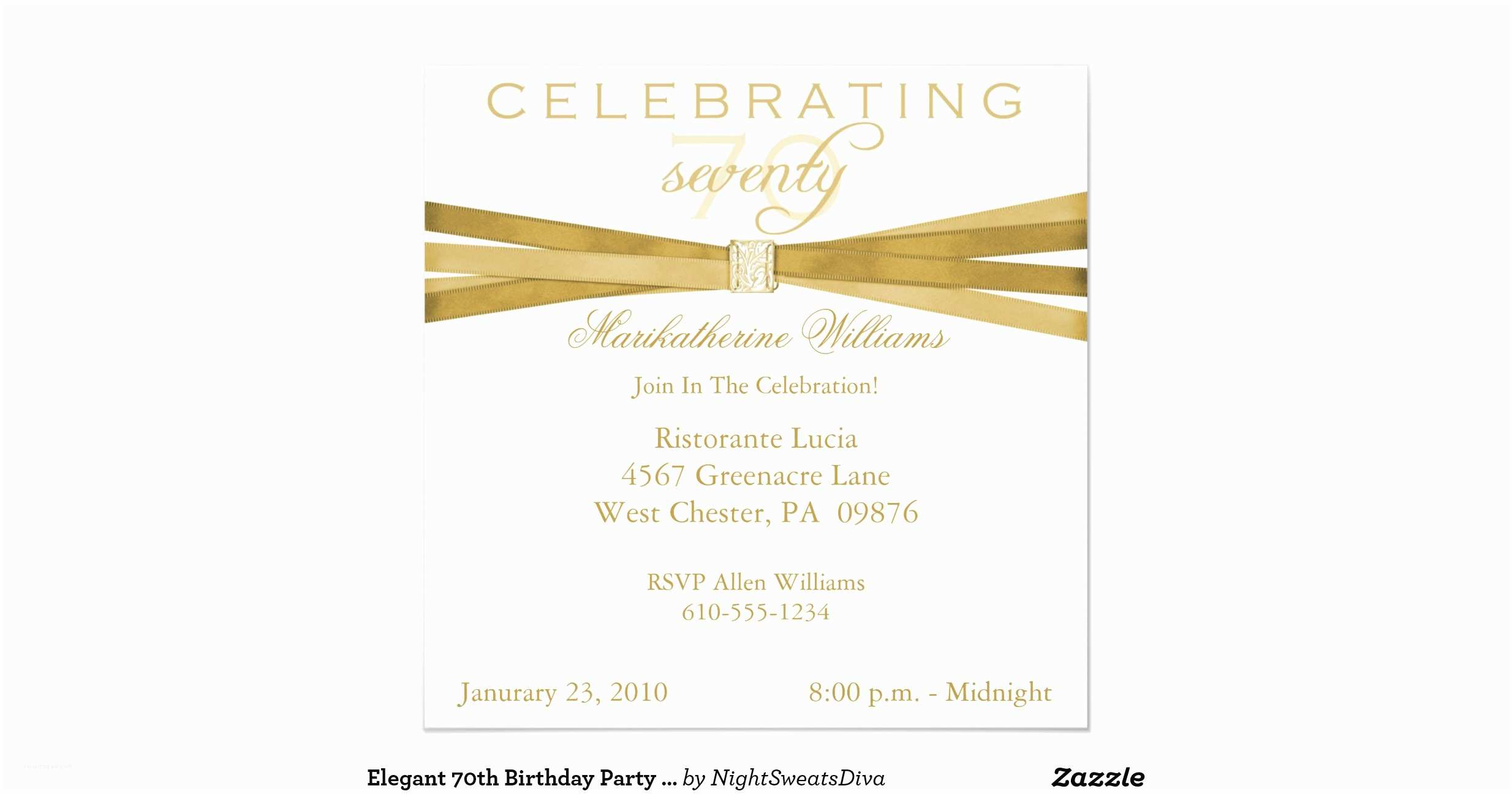 Elegant Birthday Invitations 70th Party