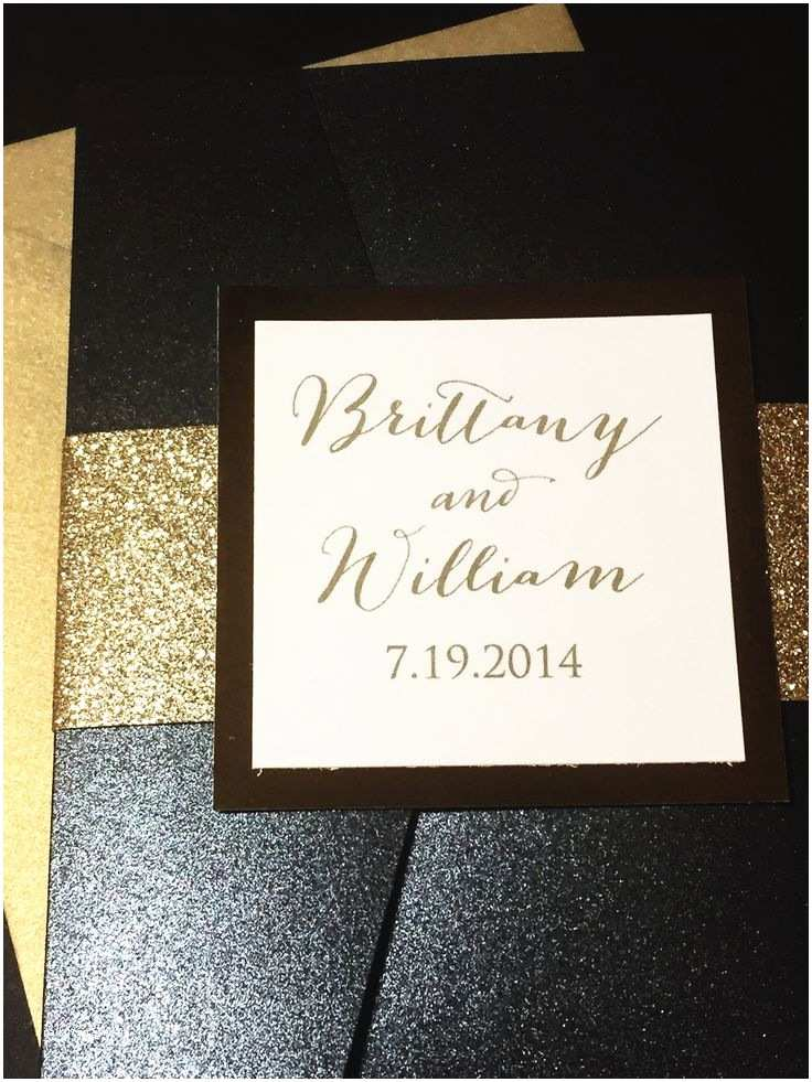 Elegant Black and Gold Wedding Invitations Black and Gold Elegant Pocketfold Glitter Wedding