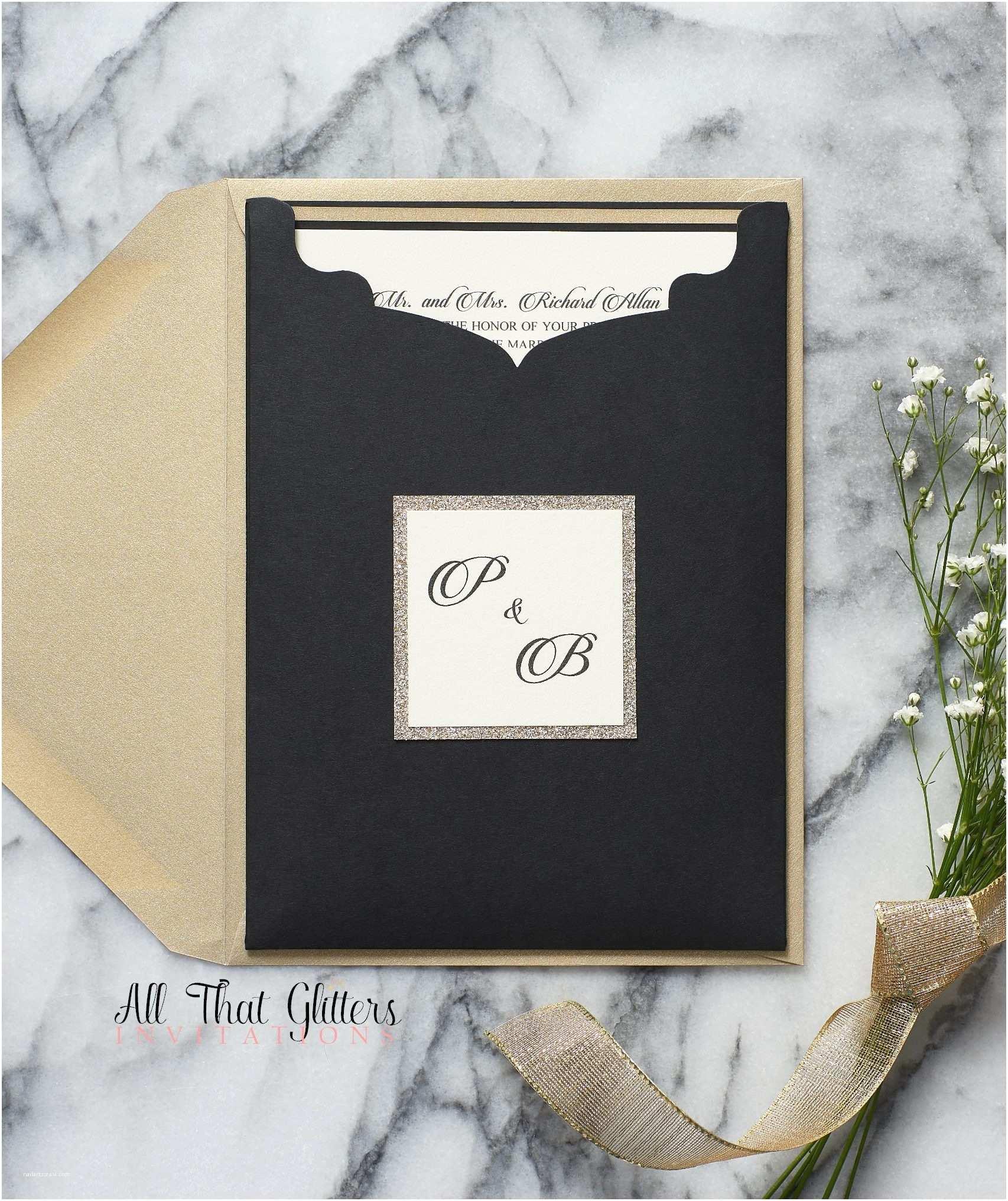 Elegant Black and Gold Wedding Invitations Brittney Pocket Wedding Invitation Suite