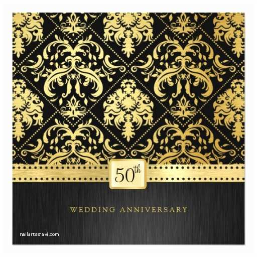 Elegant Black and Gold Wedding Invitations Elegant Black & Gold 50th Wedding Anniversary Invitation