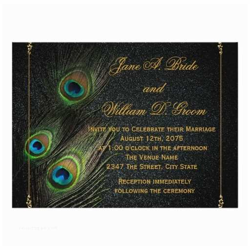 elegant black and gold peacock wedding invitations