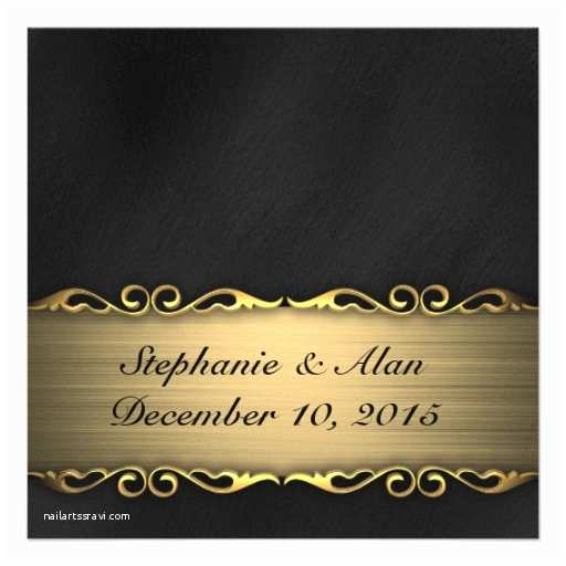 Elegant Black and Gold Wedding Invitations Elegant Black and Gold Wedding Invitation