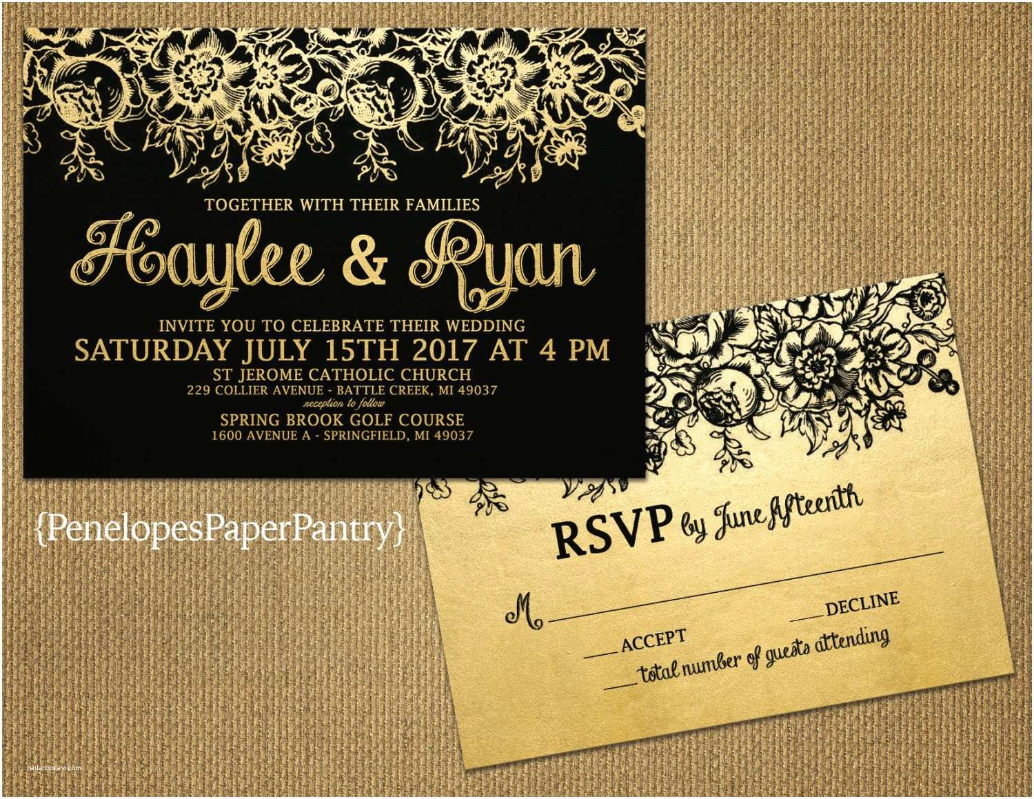 Elegant Black and Gold Wedding Invitations Elegant Black and Gold Wedding Invitations Vintage Flourishes