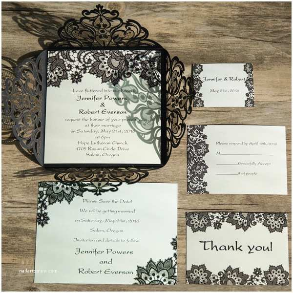 Elegant Black and Gold Wedding Invitations Elegant Black Lace Pattern Laser Cut Wedding Invitations