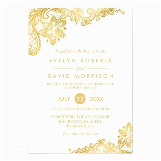 Elegant Black and Gold Wedding Invitations Elegant White Gold Lace Pattern formal Wedding Invitation