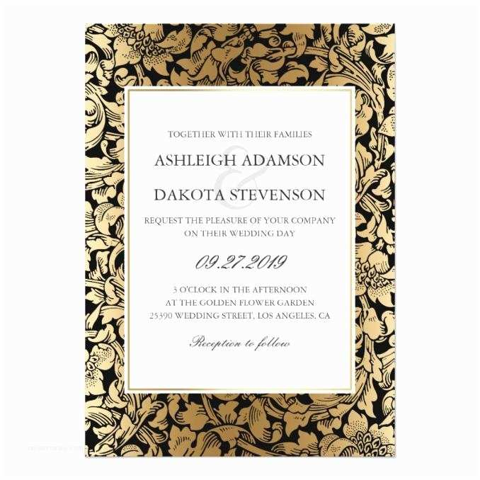 Elegant Black and Gold Wedding Invitations formal Floral Black and Gold Wedding Invitation Wedding