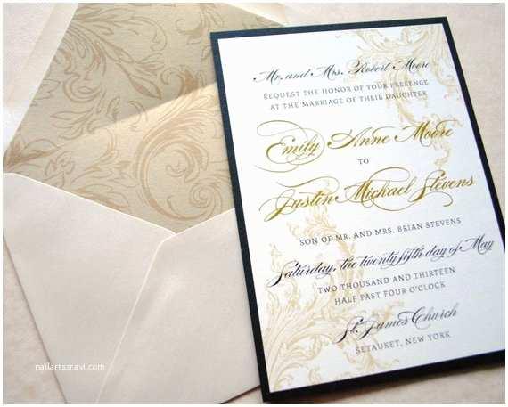 Elegant Black and Gold Wedding Invitations Items Similar to Gold and Black Wedding Invitations
