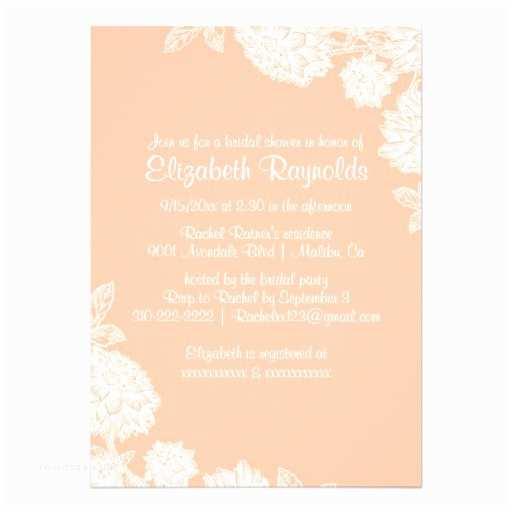 elegant coral bridal shower invitations