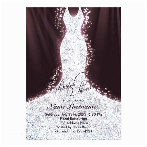 Elegant Bridal Shower Invitations Elegant Faux Glitter Dress Bridal Shower Invite