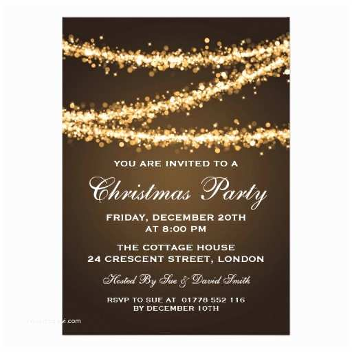 Elegant Christmas Party Invitations Elegant Christmas Party Gold String Lights 13 Cm X 18 Cm