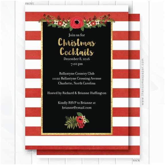 Elegant Christmas Party Invitations Elegant Christmas Party Invitation Red Gold Black