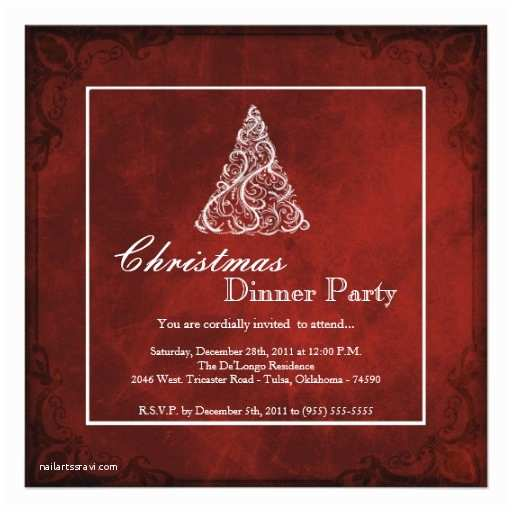 Elegant Christmas Party Invitations Elegant Holiday Christmas Dinner Party Invitation