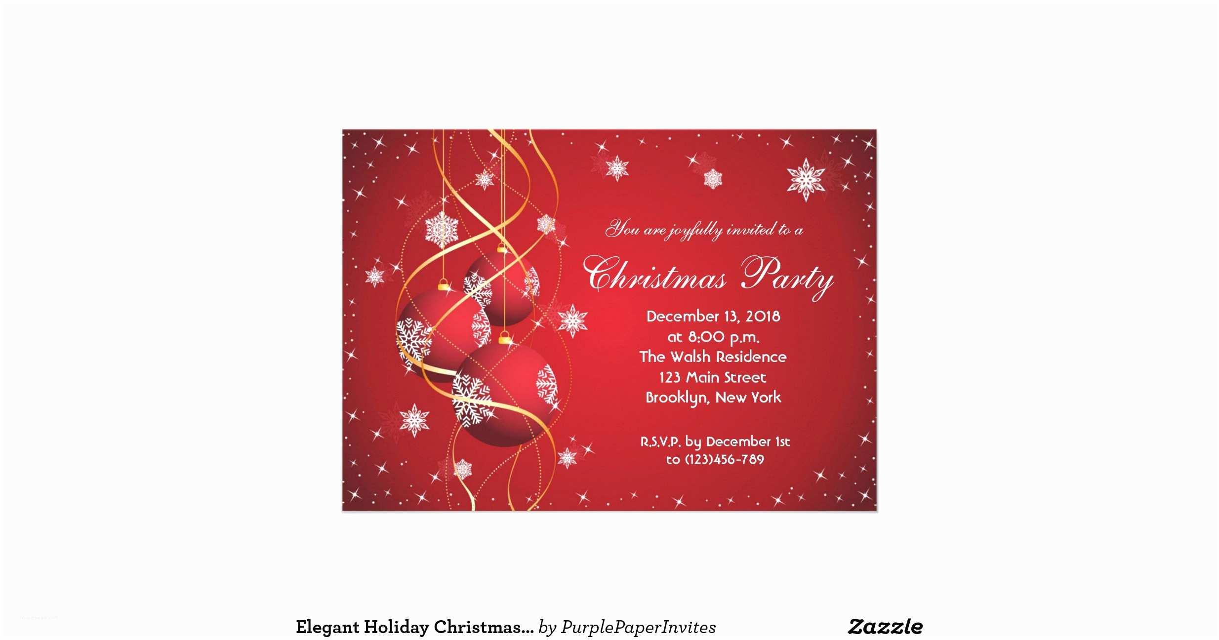Elegant Christmas Party Invitations Elegant Holiday Christmas Party Invitation