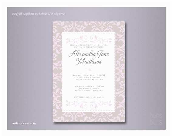 Elegant Communion Invitations Elegant Baptism Invitation Digital File
