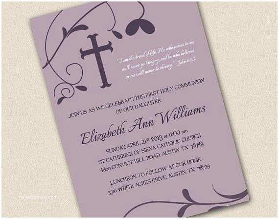 Elegant Communion Invitations Elegant First Munion or Baptism Invitation Printable