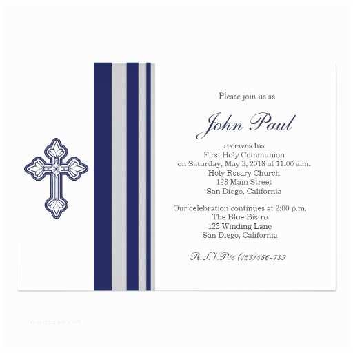 Elegant Communion Invitations Modern Elegant Cross Munion Invitation for Boys