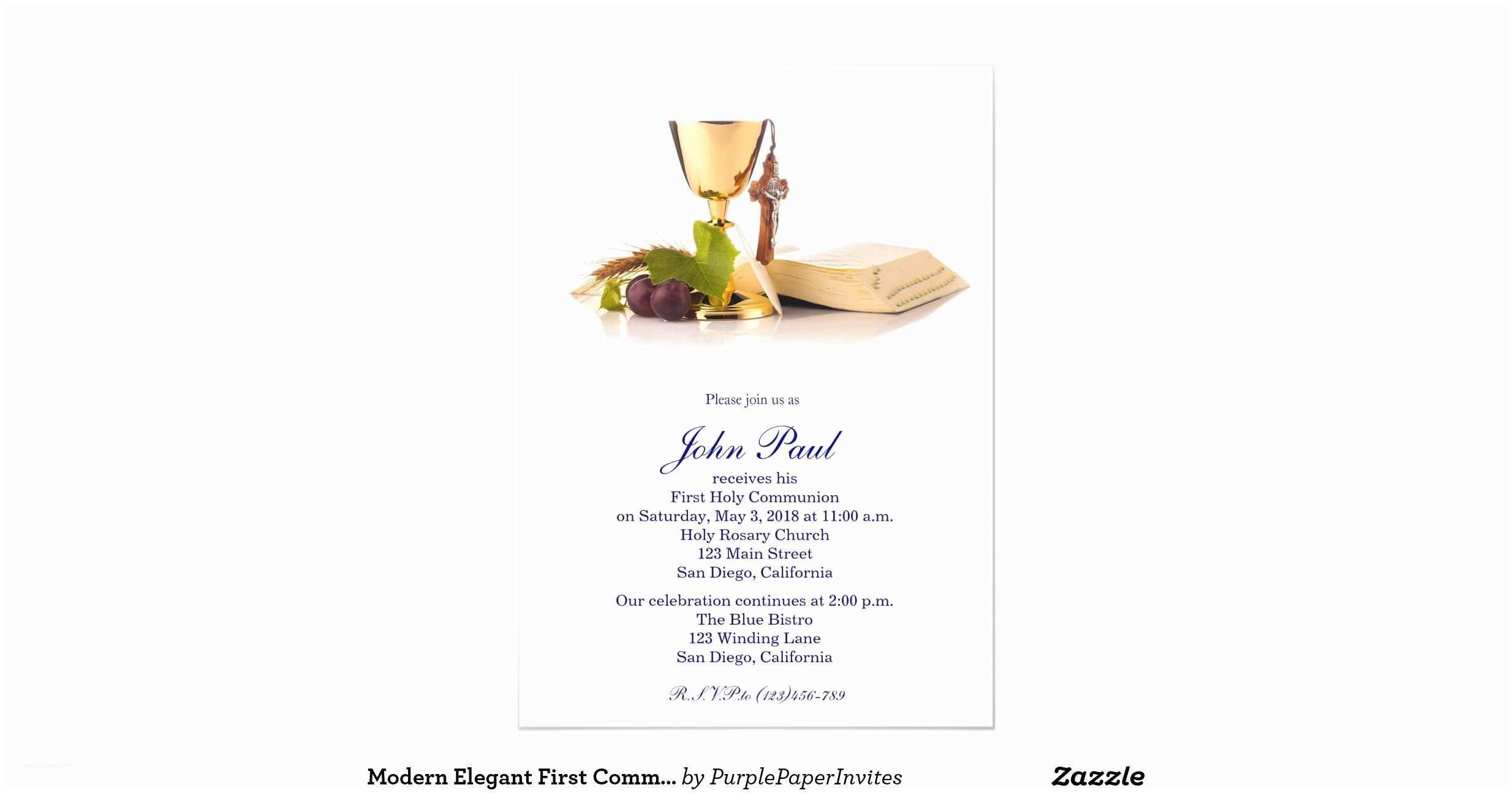 "Elegant Communion Invitations Modern Elegant First Munion Invitation for Boys 5"" X 7"