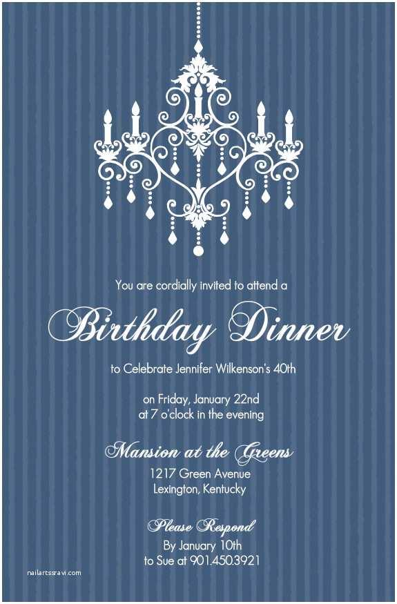 Elegant Party Invitations 40th Birthday Invitations Elegant Chandelier Blue