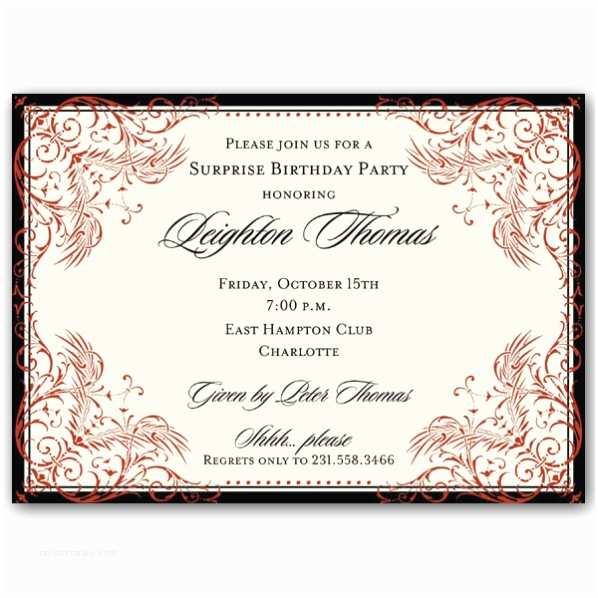 Elegant Party Invitations Black and Red Elegant Border Surprise Birthday Invitations