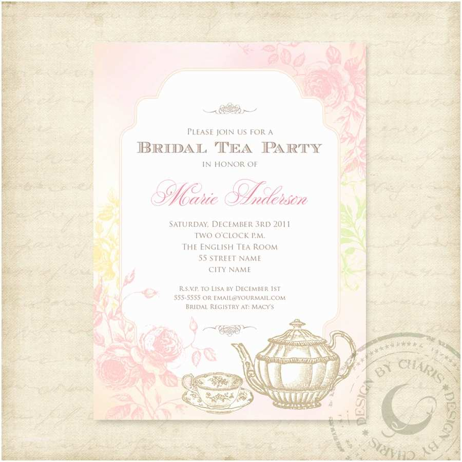 Elegant Party Invitations Bridal Tea Party Invitations