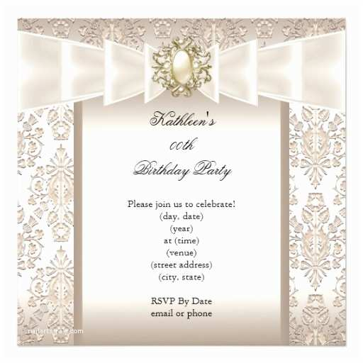 Elegant Party Invitations Elegant Birthday Party Damask Pearl Cream Invitation