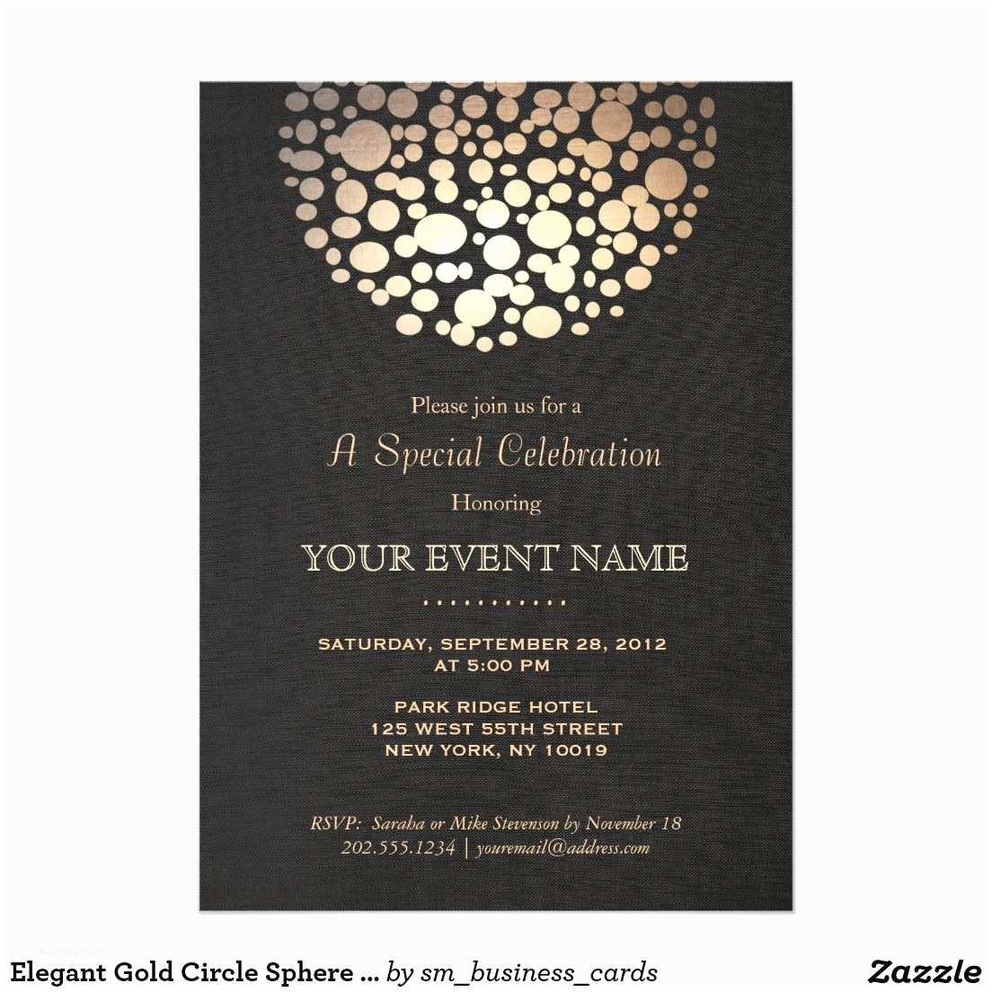 Elegant Party Invitations Elegant Gold Circle Sphere Black formal Invitation