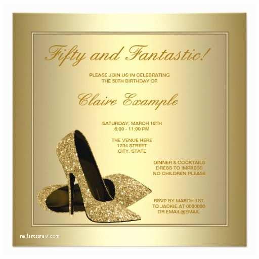 Elegant Party Invitations Elegant Gold High Heels Womans Gold 50th Birthday Invitations