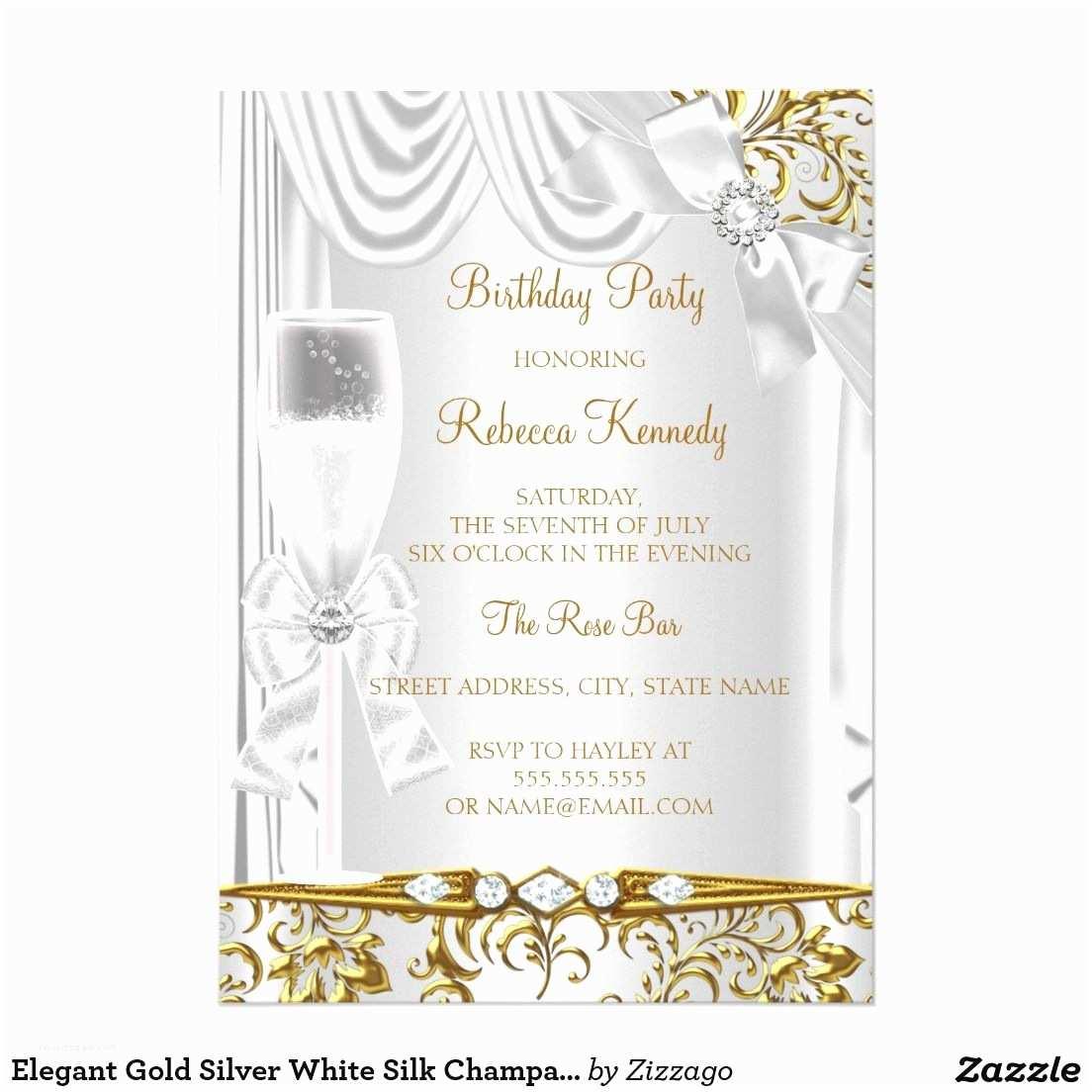 Elegant Party Invitations Elegant Gold Silver White Silk Champagne Birthday Card