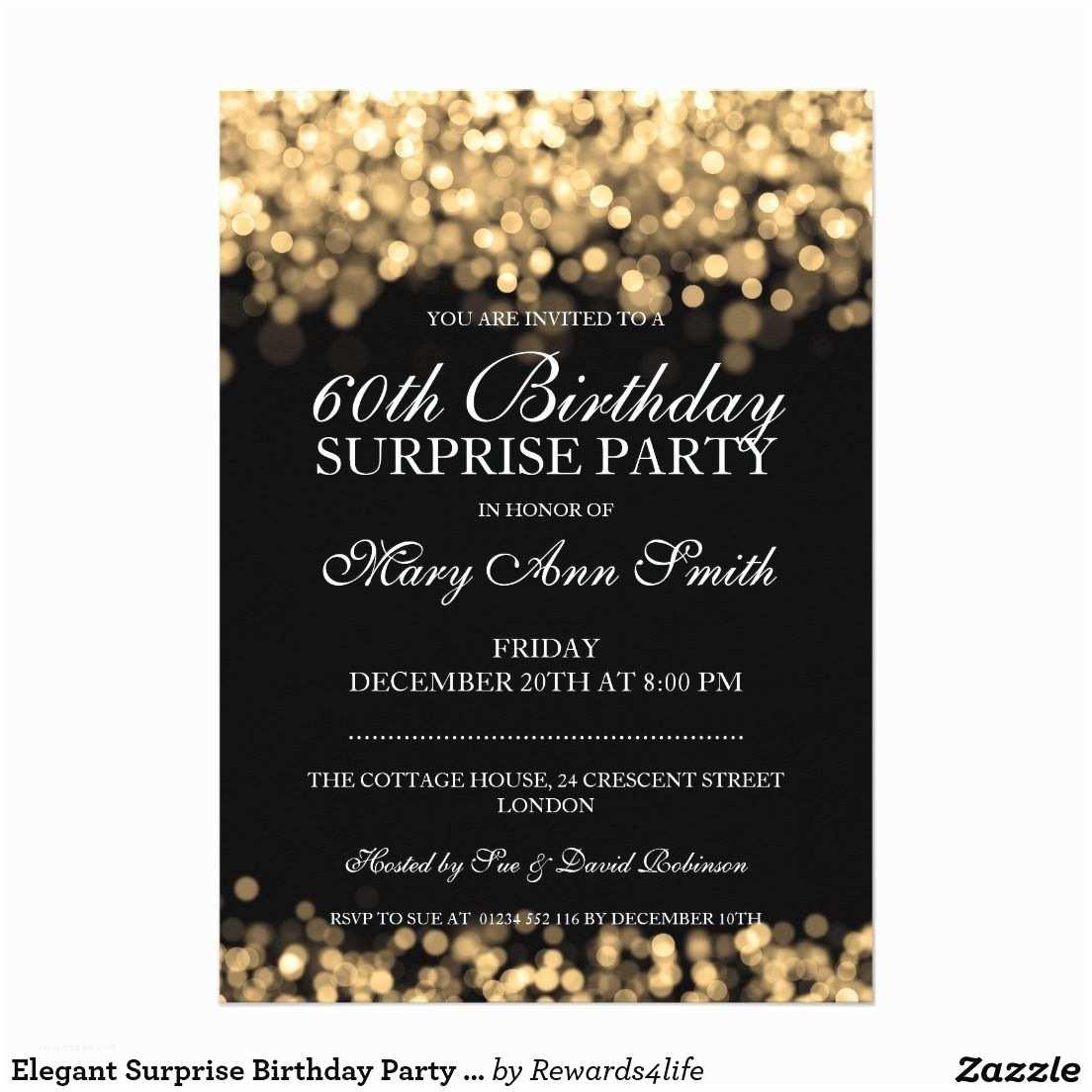 Elegant Party Invitations Elegant Surprise Birthday Party Gold Lights 5x7 Paper