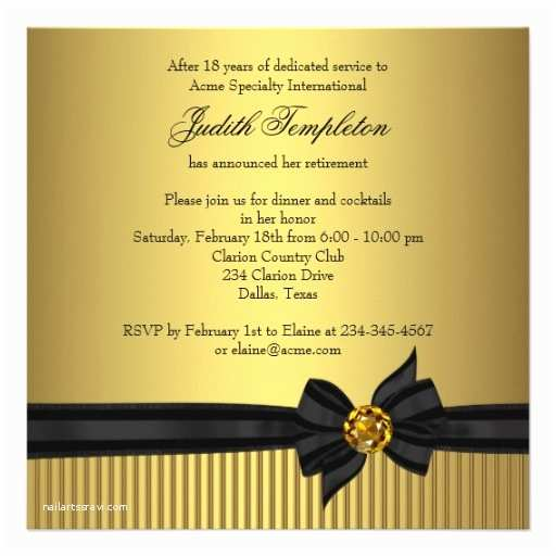 Elegant Party Invitations Womens Retirement Party Invitation Elegant Black and Gold
