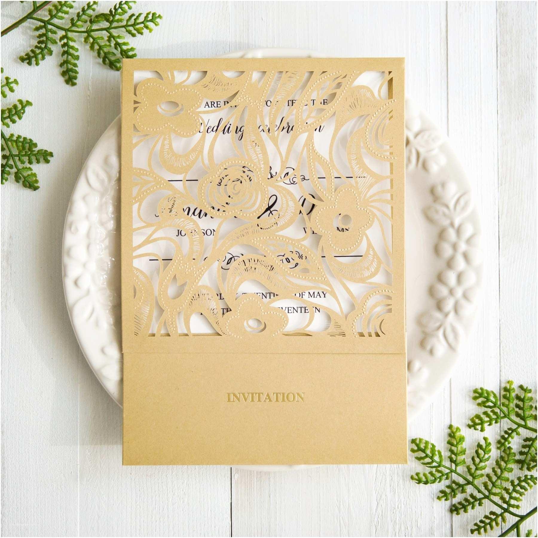 Elegant Pocket Wedding Invitations Elegant Gold Laser Cut Wedding Invitation Cards