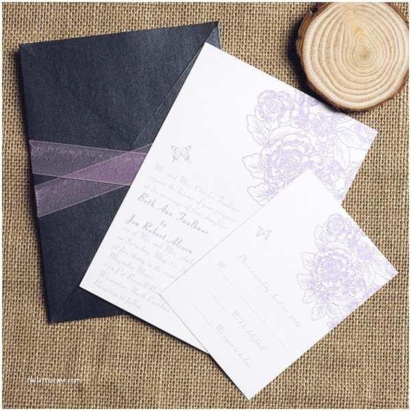 Elegant Pocket Wedding Invitations Elegant Lavender Purple Pocket Ribbon Wedding Invitation