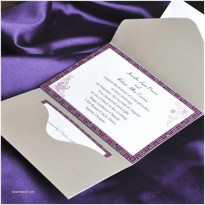 Elegant Pocket Wedding Invitations Elegant Purple And Gray Pocket Wedding Invitation