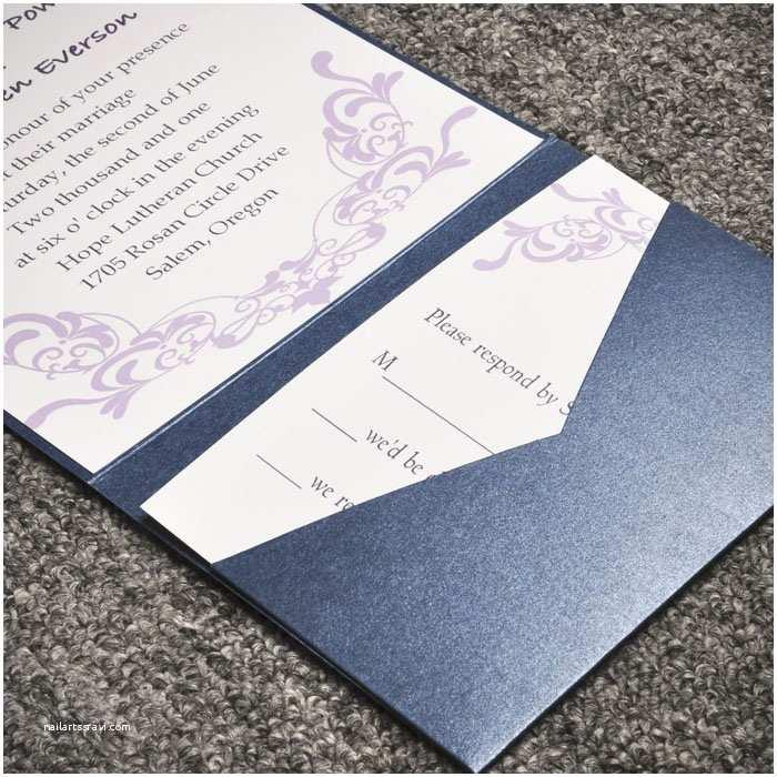Elegant Pocket Wedding Invitations Elegant Purple Damask Card and Blue Pocket Affordable