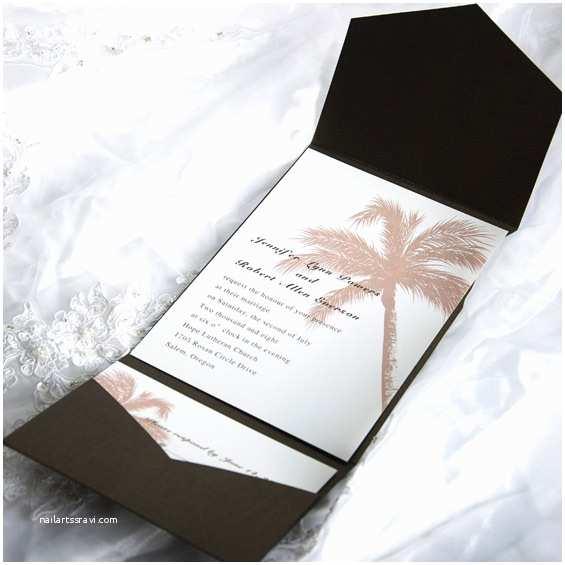 Elegant Pocket Wedding Invitations Elegant Tropical Pocket Wedding Invitation Sets Ewpi005