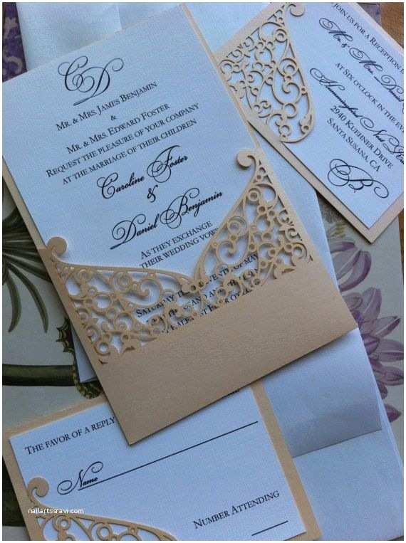 Elegant Pocket Wedding Invitations Lasercut Wedding Invitation Sleeve Pocket Elegant Swirl