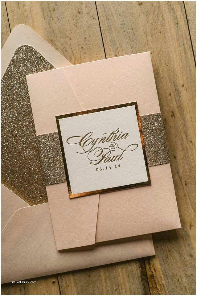 Elegant Pocket Wedding Invitations Lauren Suite Styled Glitter Pocket Folder Package