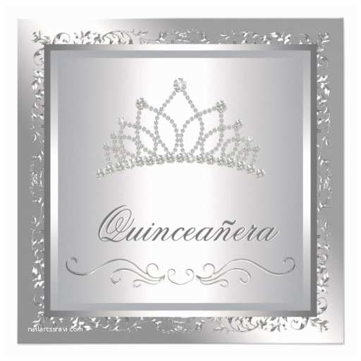 Elegant Quinceanera Invitations Diamond Tiara Elegant Silver Damask Quinceanera