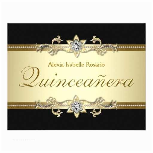 Elegant Quinceanera Invitations Elegant Black and Gold Quinceanera 4 25x5 5 Paper