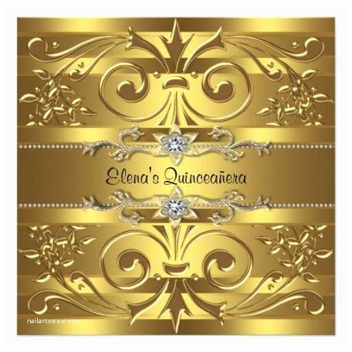 """Elegant Quinceanera Invitations Elegant Gold Quinceanera Invitations 5 25"""" Square"""