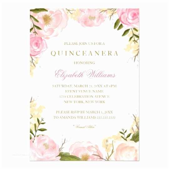 Elegant Quinceanera Invitations Elegant Pink Rose Quinceanera Invitation