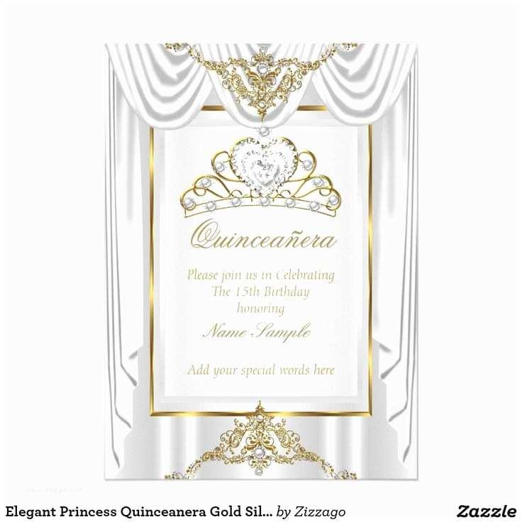 Elegant Quinceanera Invitations Elegant Princess Quinceanera Gold Silver White Card