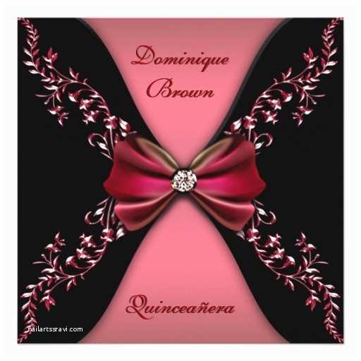 Elegant Quinceanera Invitations Elegant Red Black Diamond Bow Quinceanera Invitation