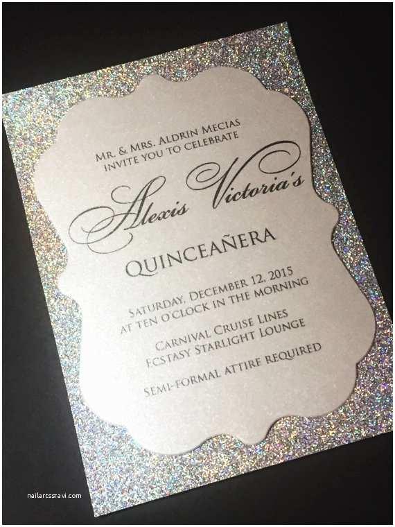 Elegant Quinceanera Invitations Quinceañera Invitation Sweet 16 Invitation Glitter